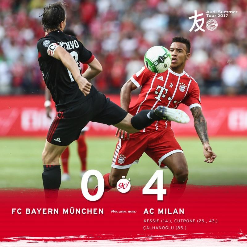 El Bayern cae ante el AC Milán en el segundo partido de la Audi Tour
